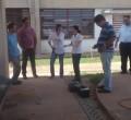 Equipe realiza o trabalho de desinfecção no Complexo Educacional do Jardim Novo.